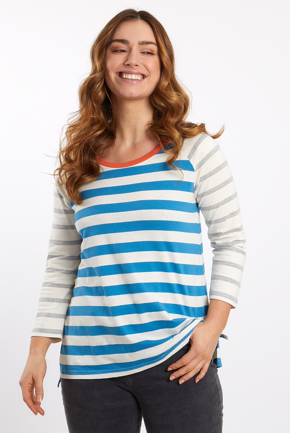 Ana 3/4 Sleeve Cotton T-Shirt Blue Wash