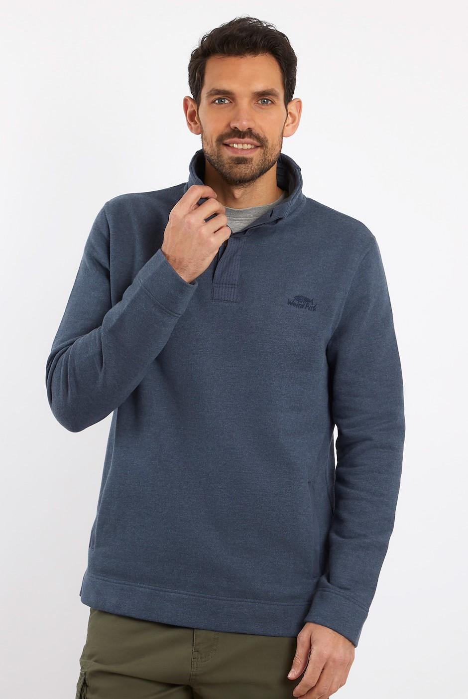 Folk Button Neck Sweatshirt Navy