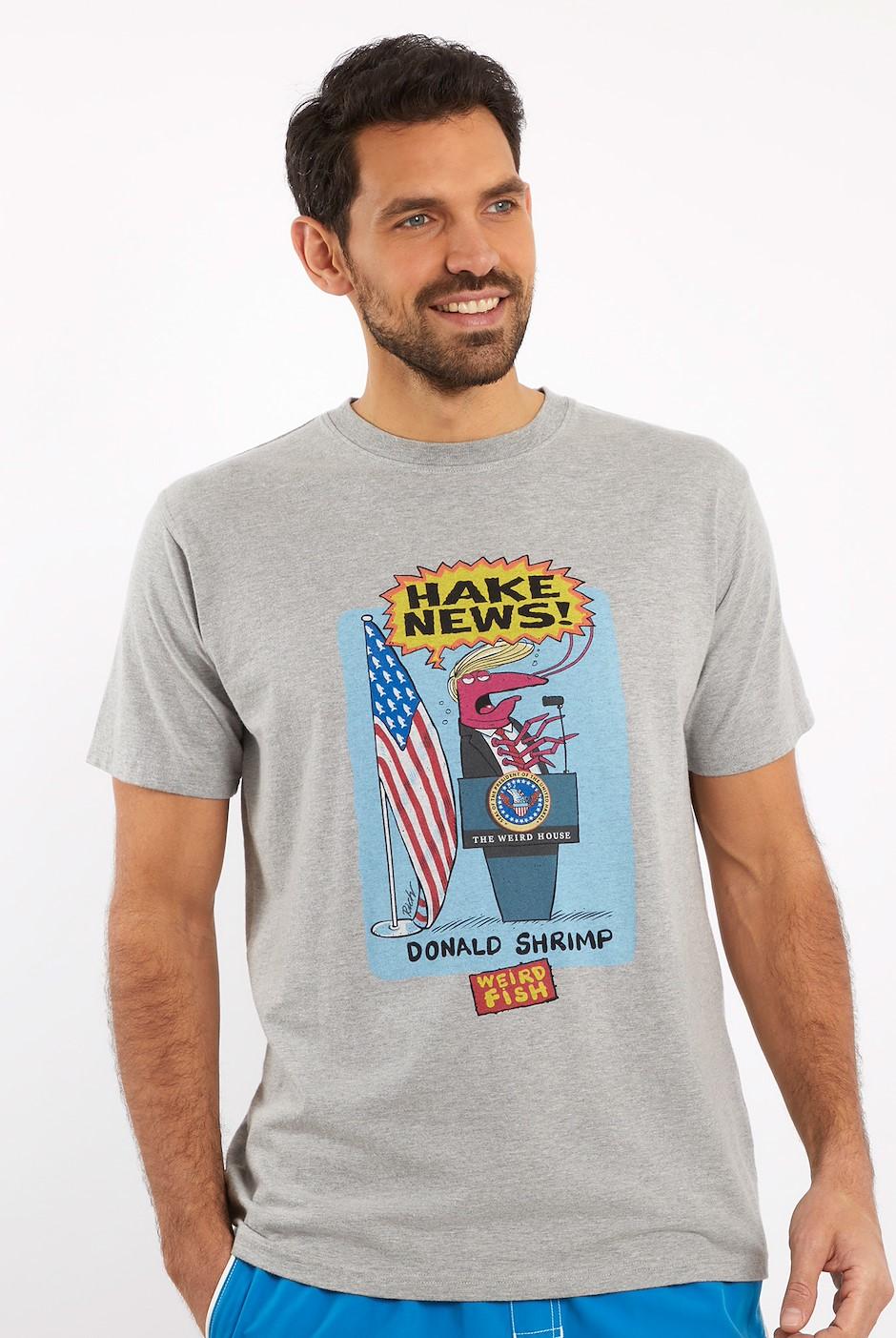 Hake News Front Print Artist T-Shirt Grey Marl