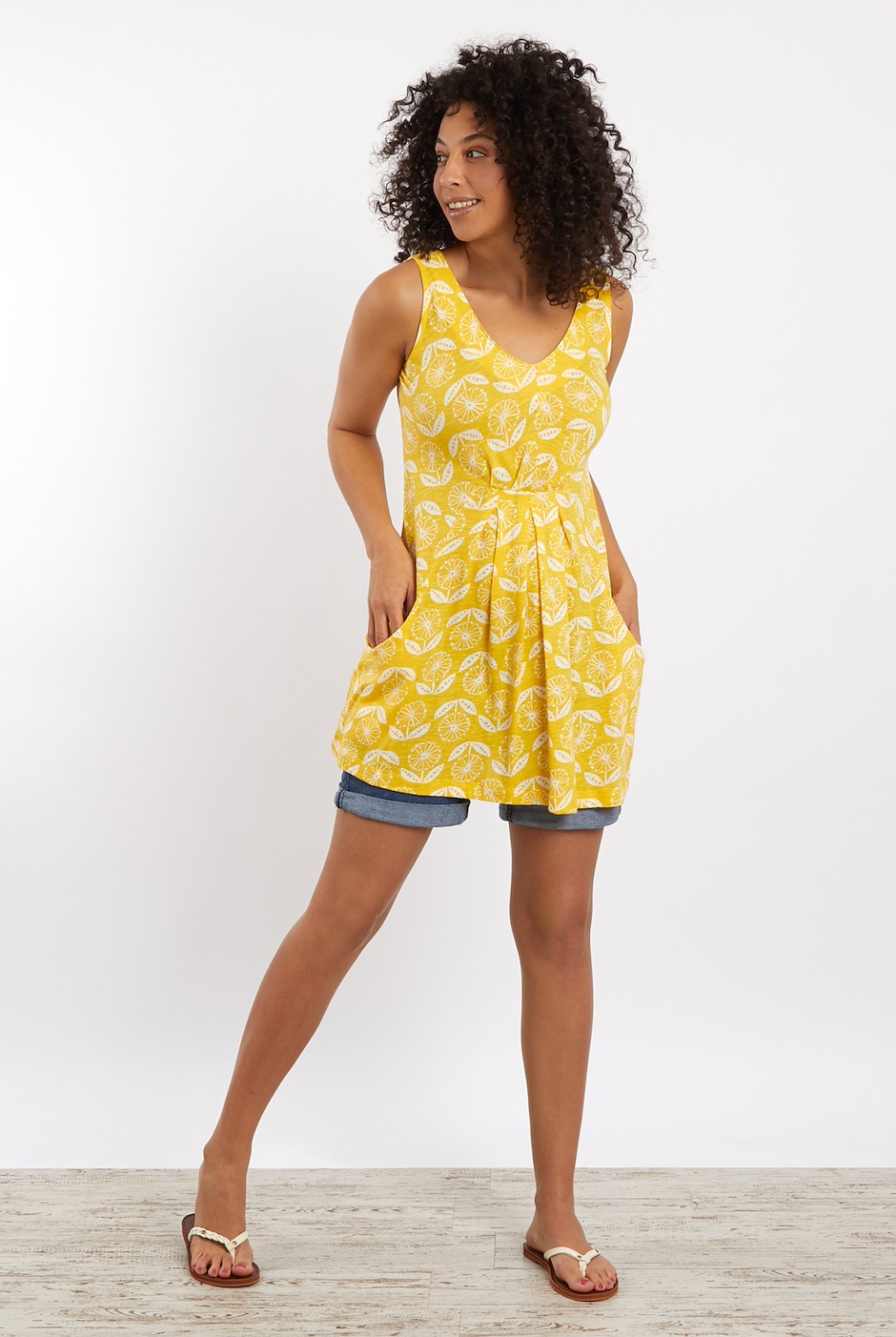 Indus Printed Jersey Tunic Sunshine Yellow