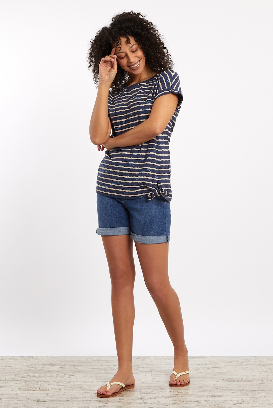 Molly Embroidered Striped T-Shirt Dark Navy