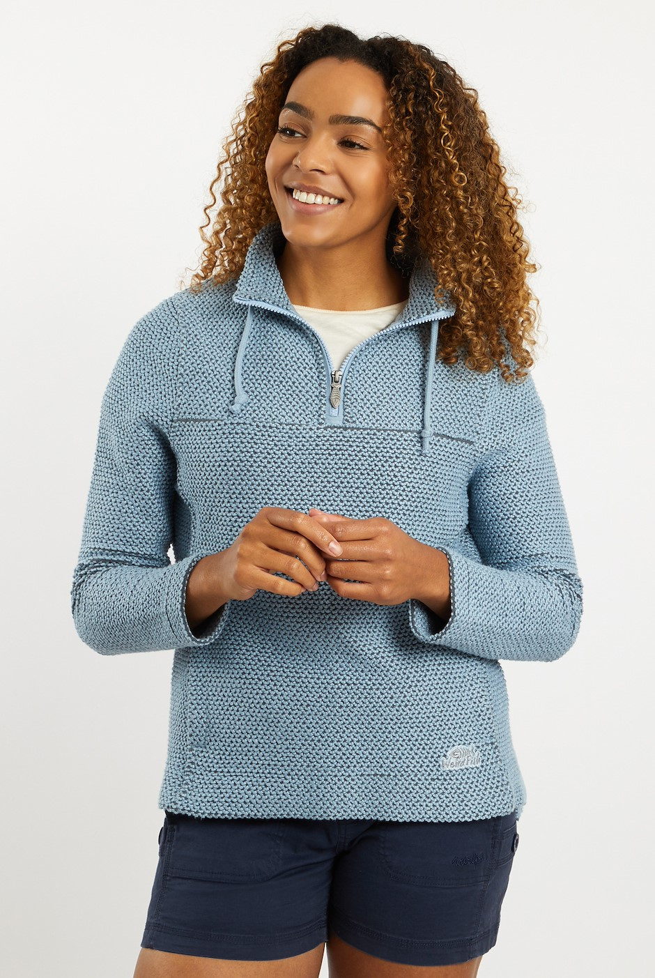 Portia 1/4 Zip Classic Macaroni Sweatshirt Pale Denim