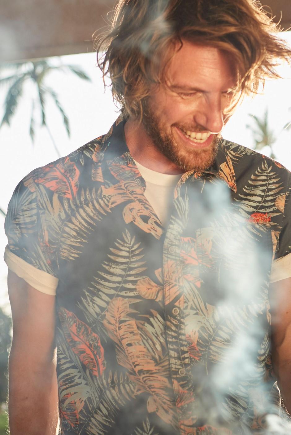 Dashbeck Short Sleeve Hawaiian Print Shirt Navy