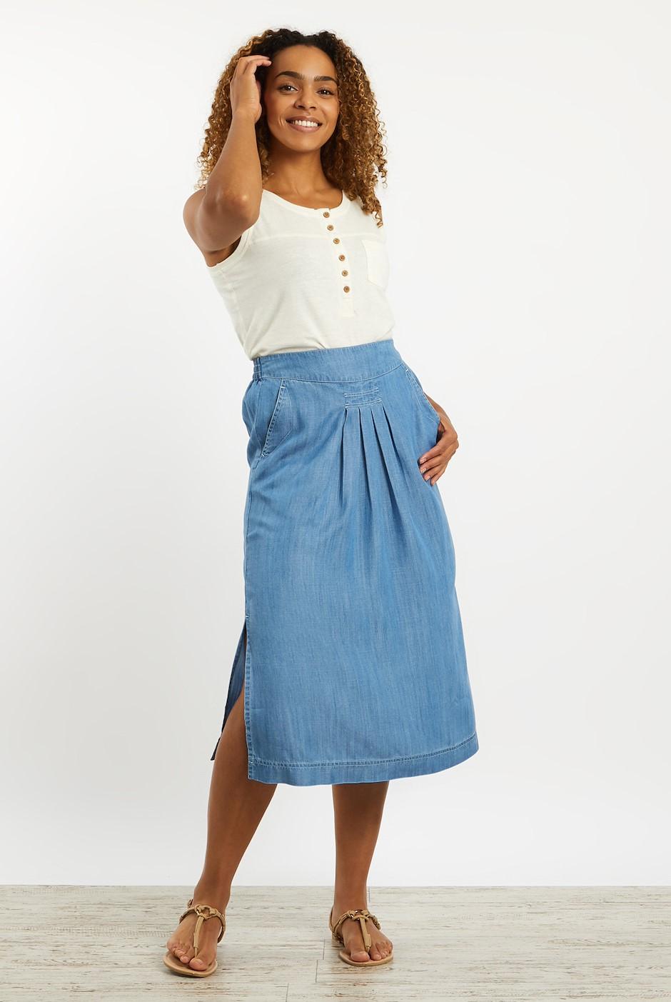 Iona Tencel Midi Skirt Light Denim