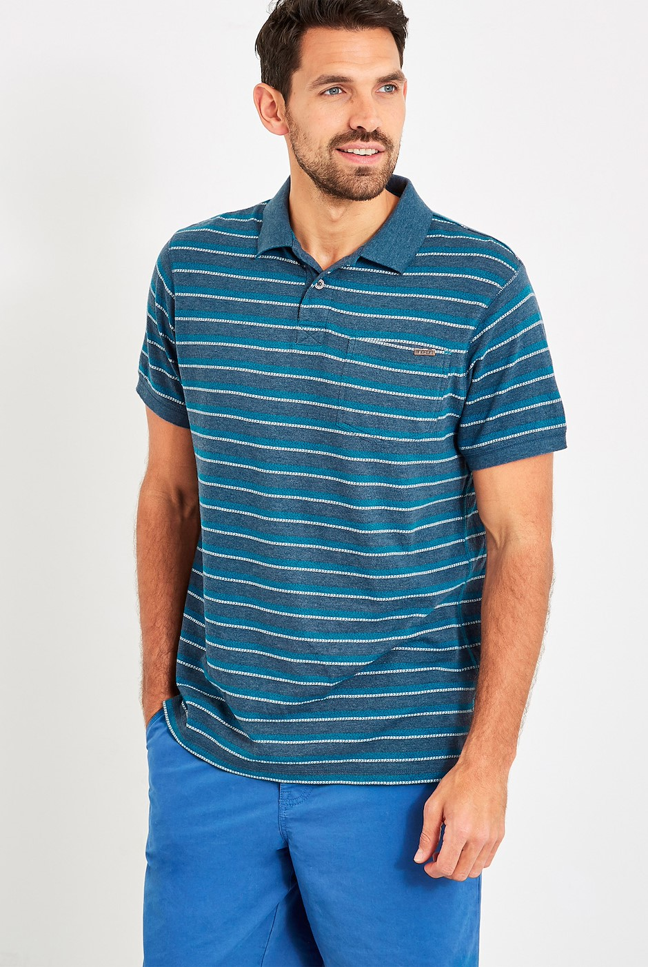 Willer Striped Polo Shirt Dusty Teal