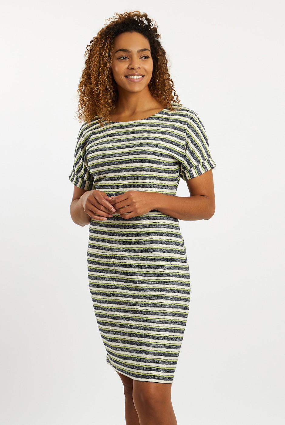 Brit Stripe Jersey Dress Acid Lime