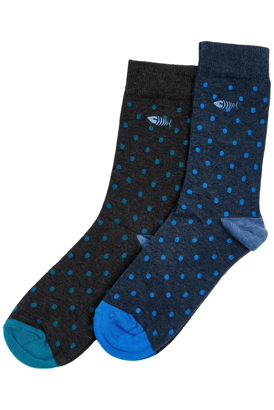 Tralee Polka Dot Socks Twin Pack Dark Navy