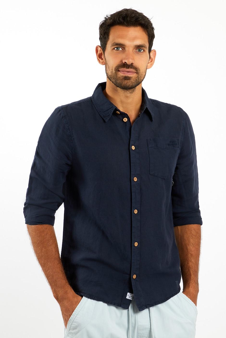 Stronsay Linen Shirt Navy