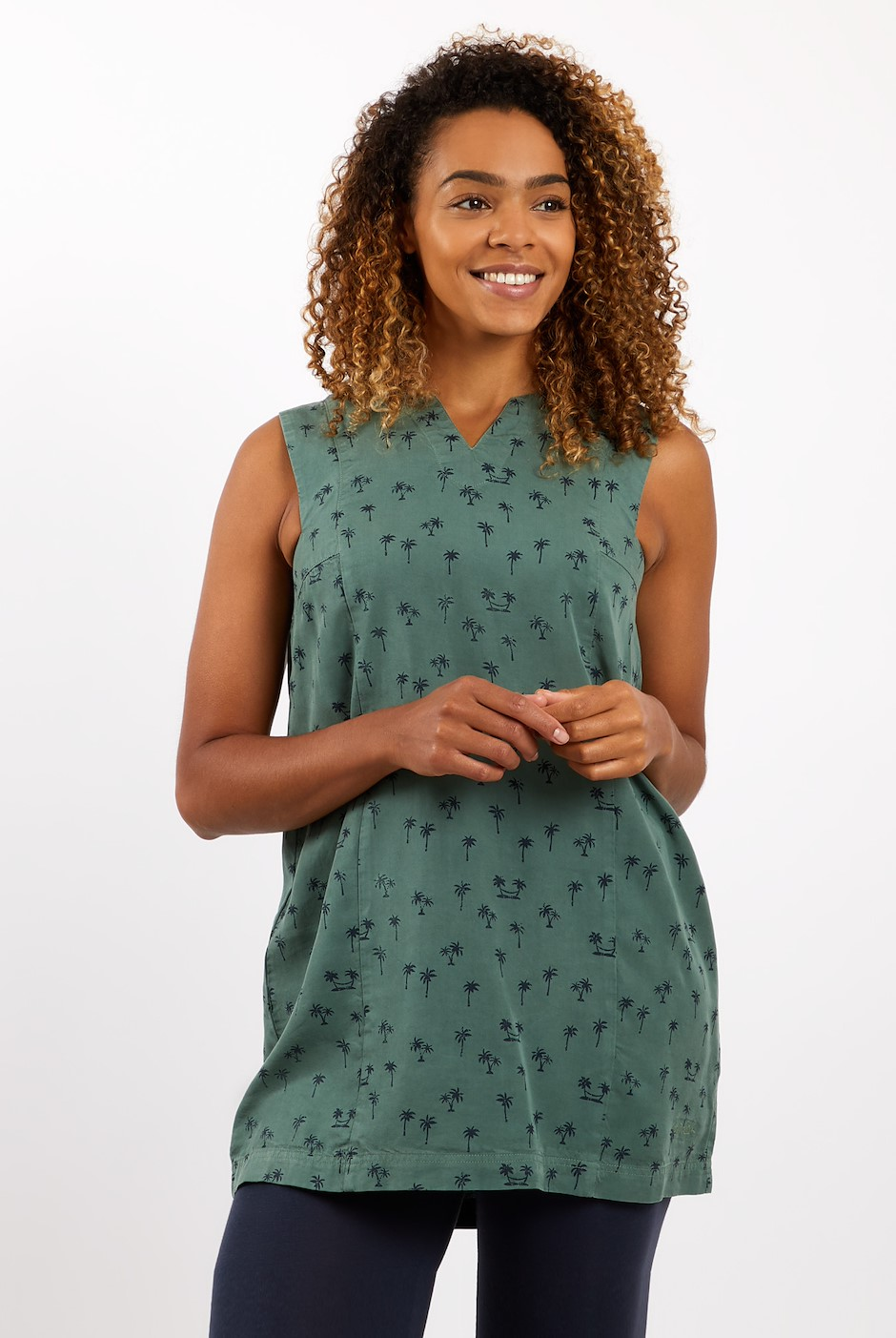 Whalsay Printed Tencel Tunic Army Green