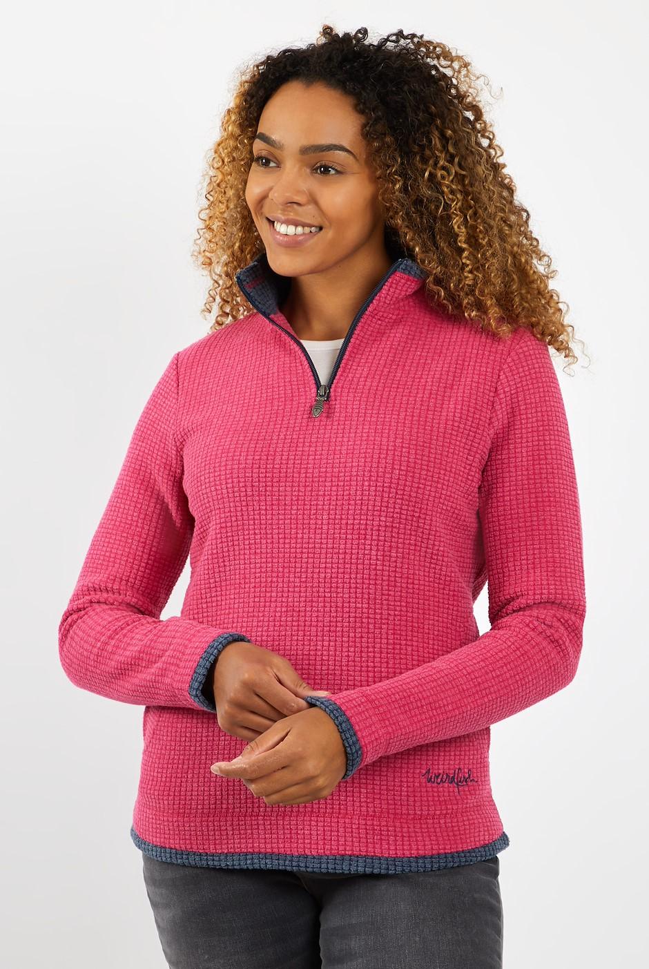 Beyonce 1/4 Zip Grid Fleece   Dark Pink