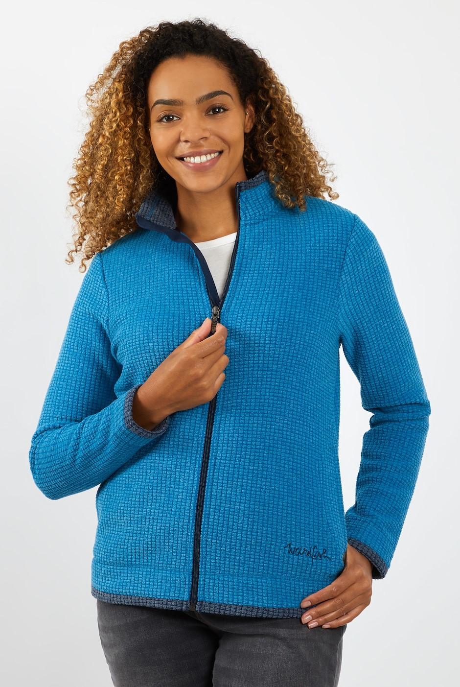 Ariana Full Zip Grid Fleece Storm Blue