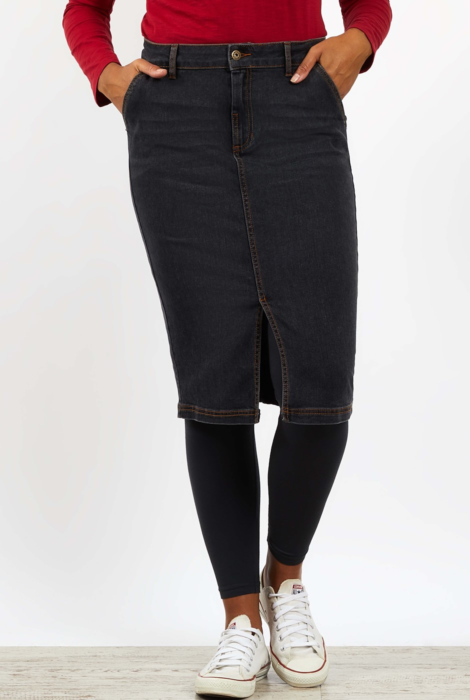 Madison Denim Midi Skirt Grey