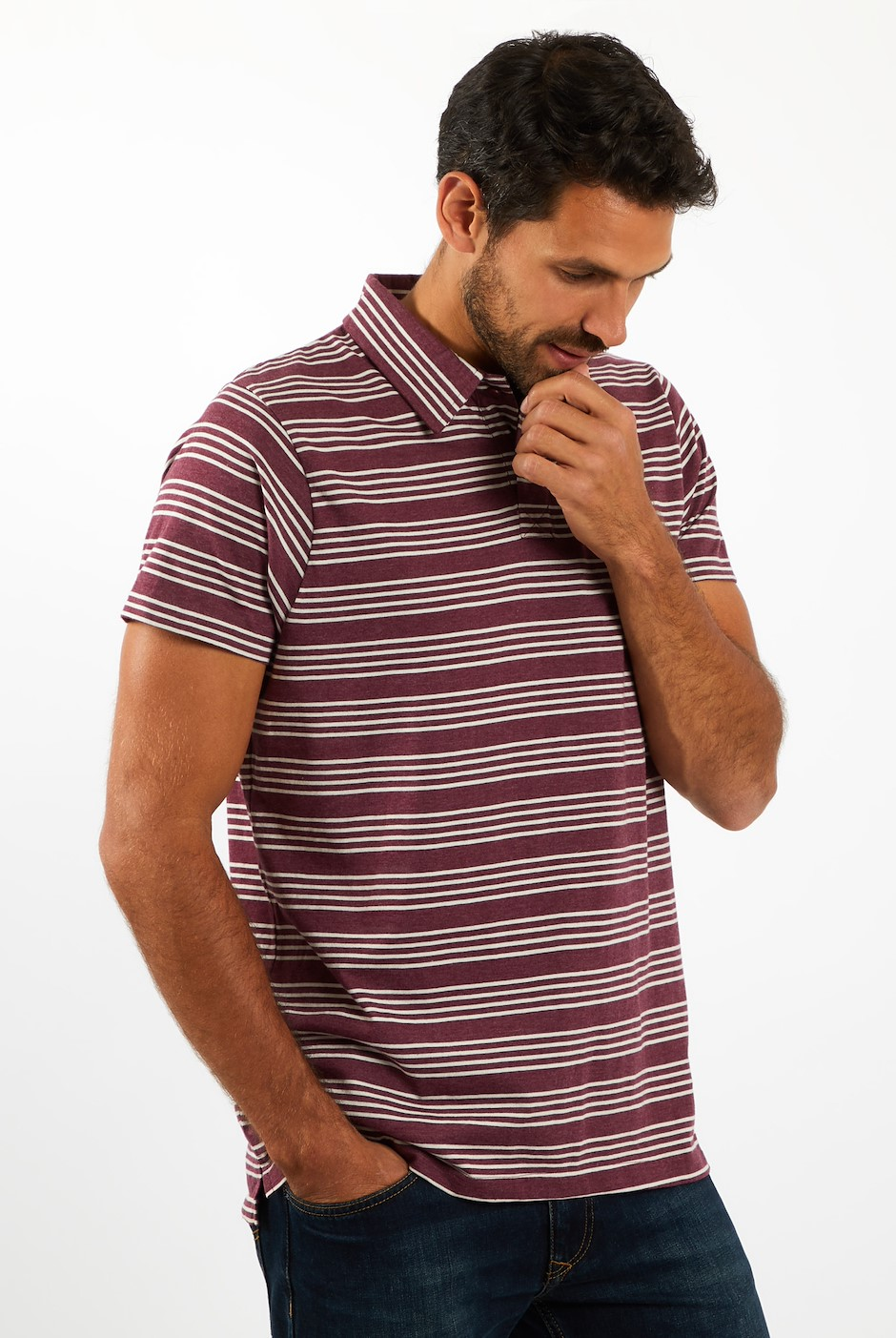Lapford Striped Polo Plum