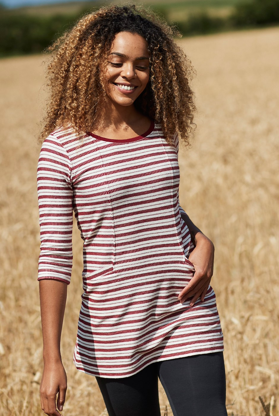 Arlo Striped Tunic Rich Red
