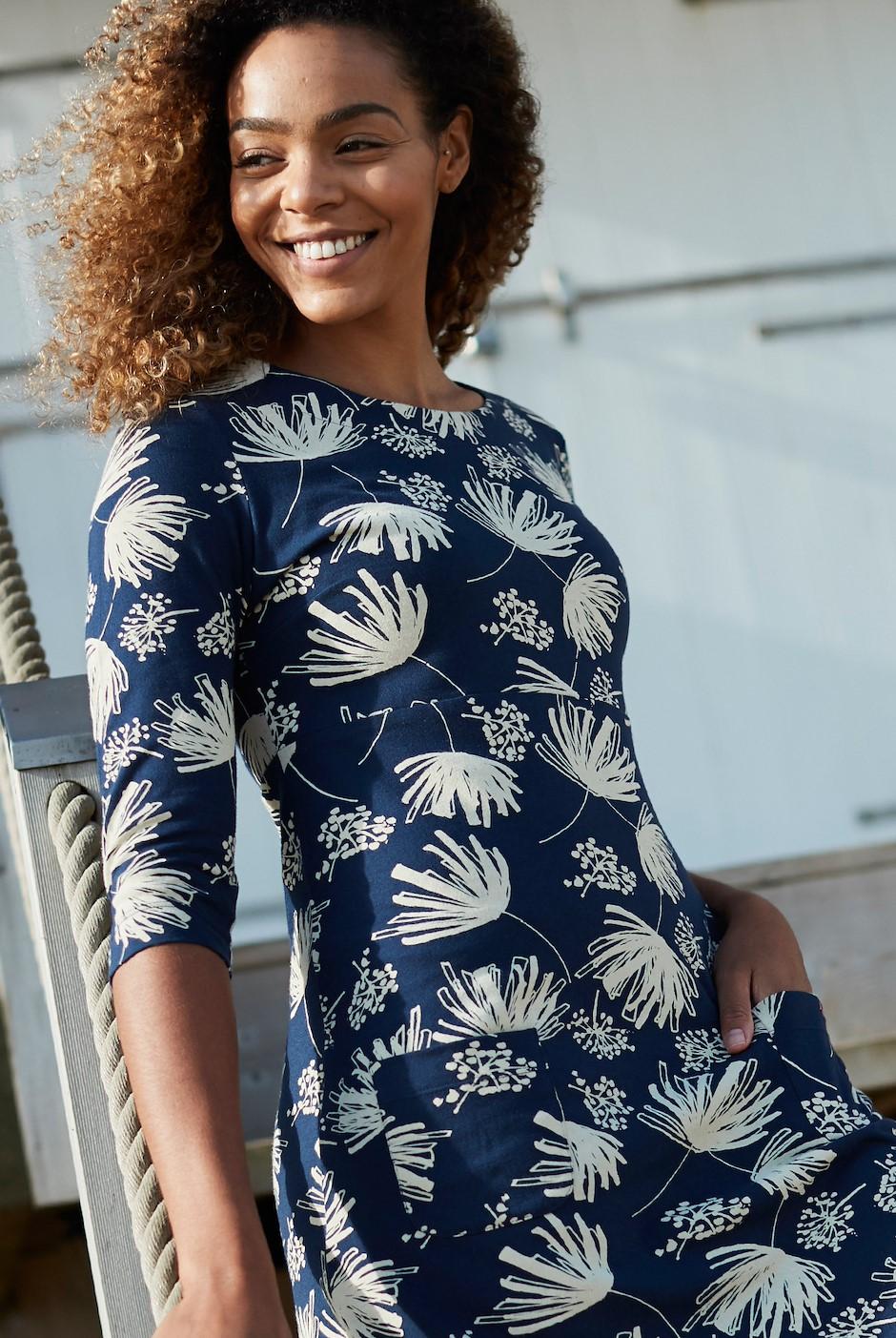 Starshine Printed Jersey Dress Navy
