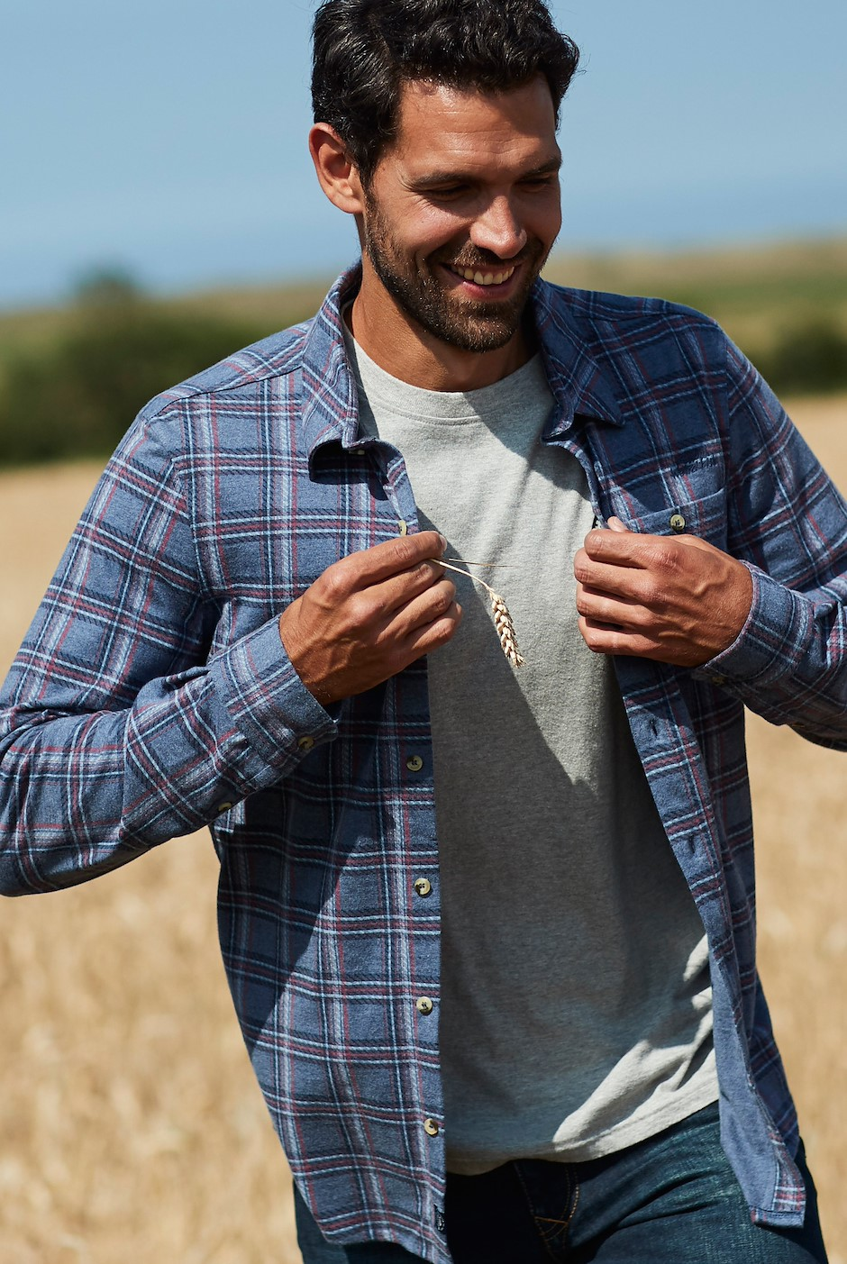 Cullin Printed Check Jersey Shirt Navy