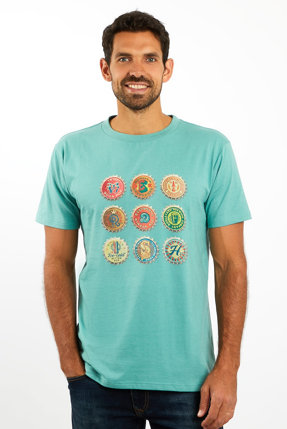 Bottlecaps T-Shirt Washed Teal