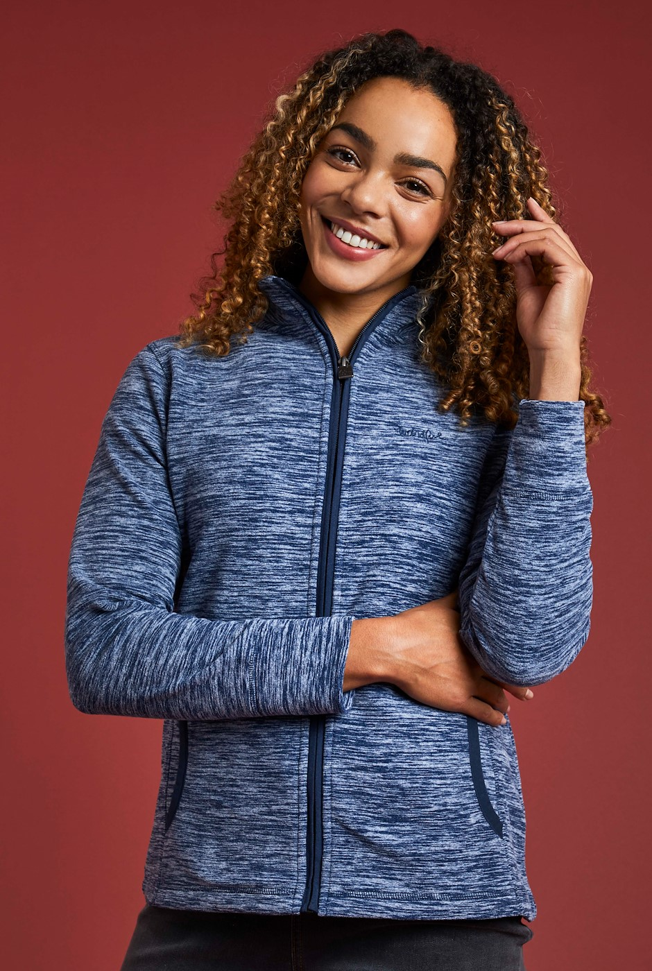 Adele Full Zip Melange Fleece Dark Navy