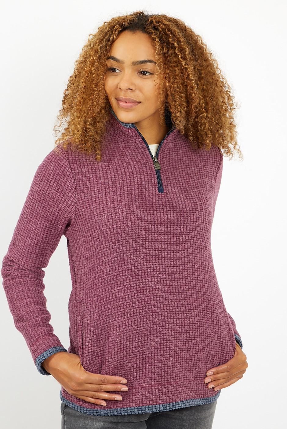 Beyonce 1/4 Zip Grid Fleece   Plum