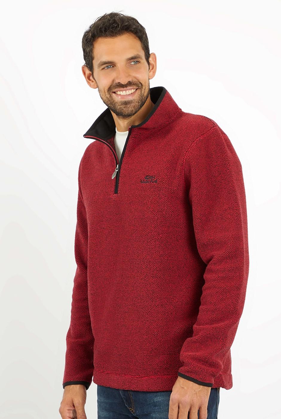 Errill 1/4 Zip Textured Fleece Chilli Red