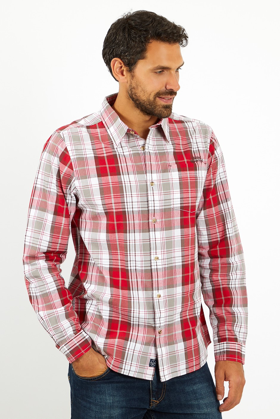 Sperrin Long Sleeve Check Shirt Chilli Pepper