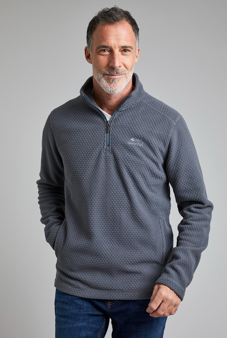 Silvermine 1/4 Zip Hexagon Fleece Cement