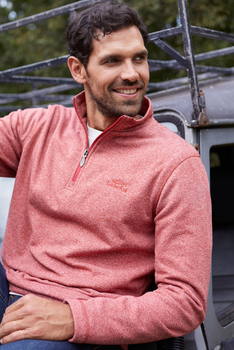 Dansley 1/4 Zip Marled Fleece Nut