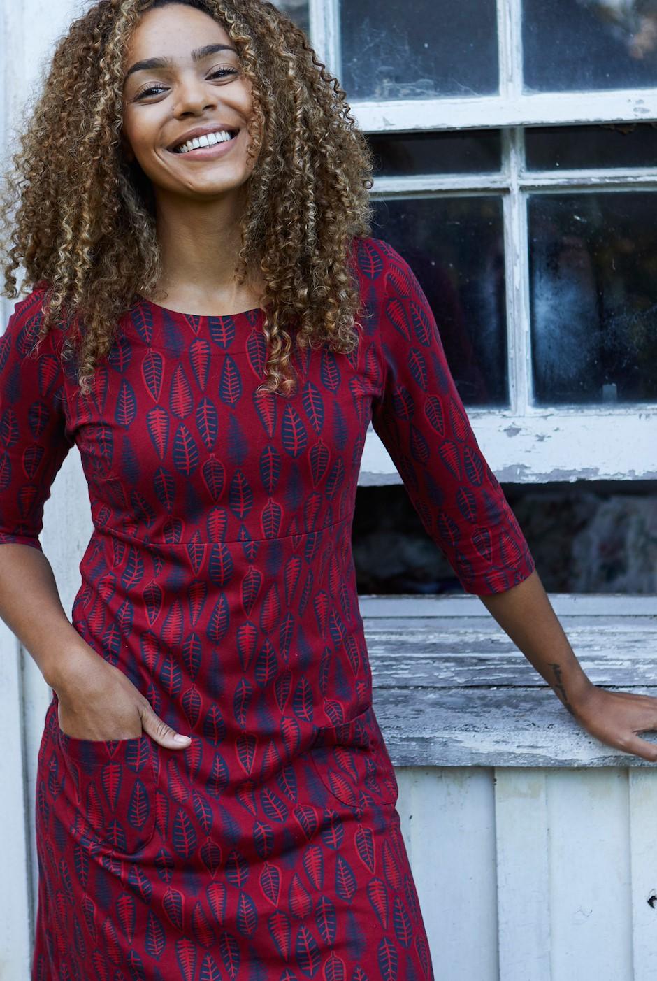 Starshine Printed Jersey Dress Rich Red