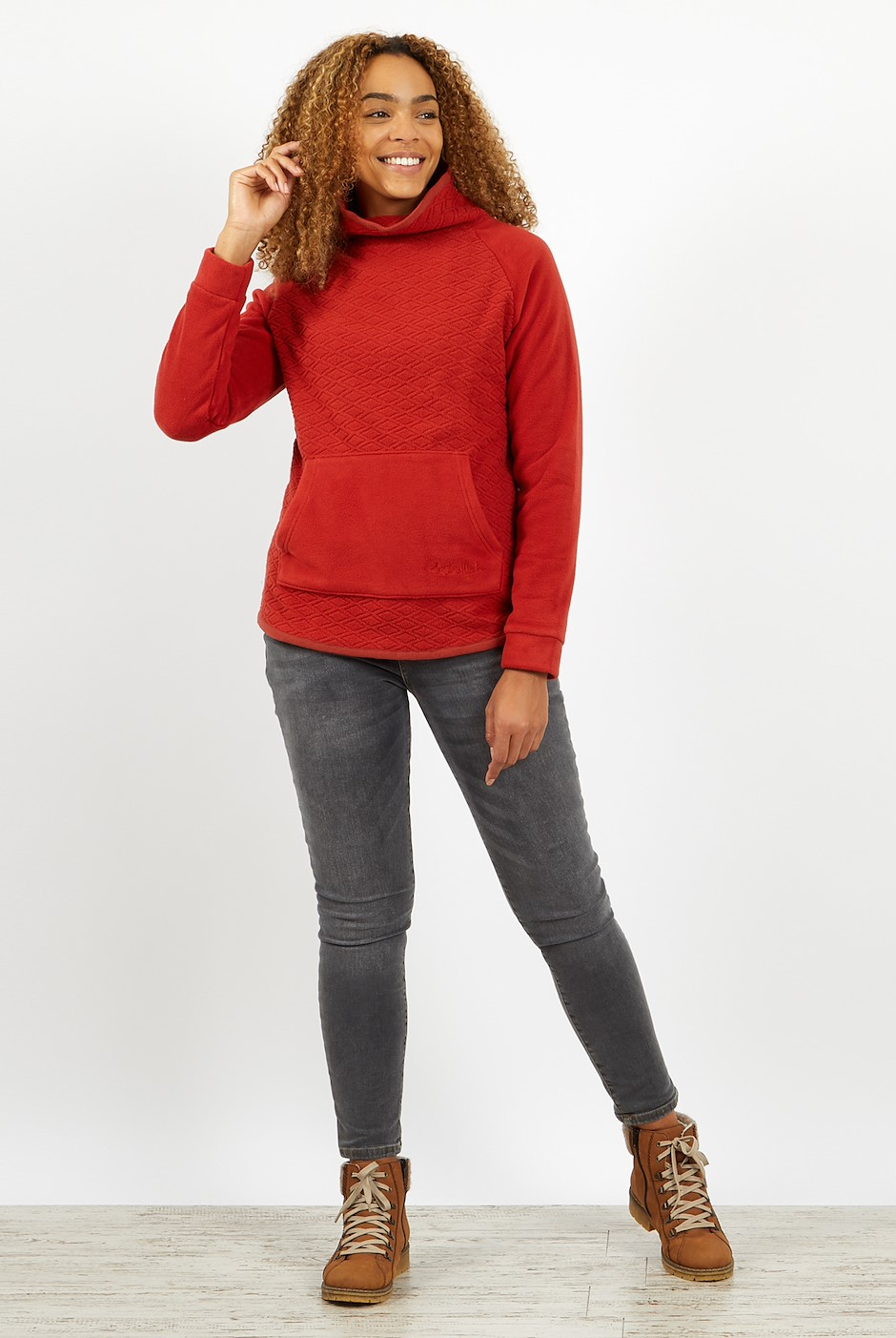 Sallca Pop over Diamond Microfleece Chilli Red
