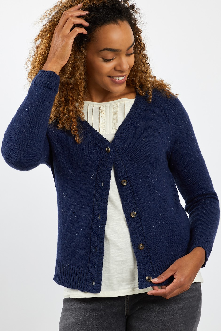 Cupro Knit Cardigan Navy
