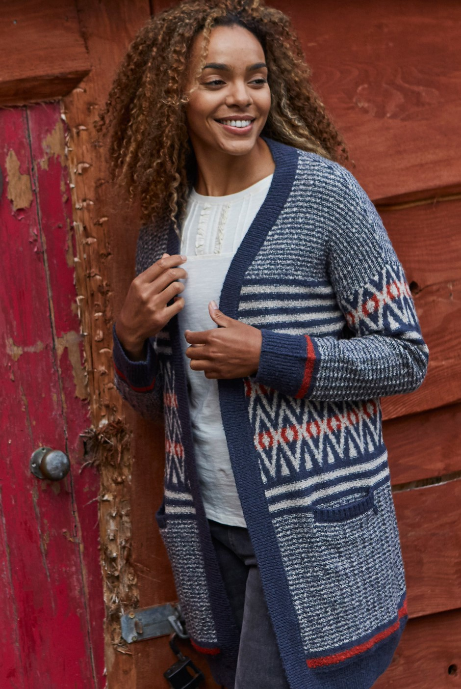 Lipa Fair Isle Long Knit Cardigan Navy