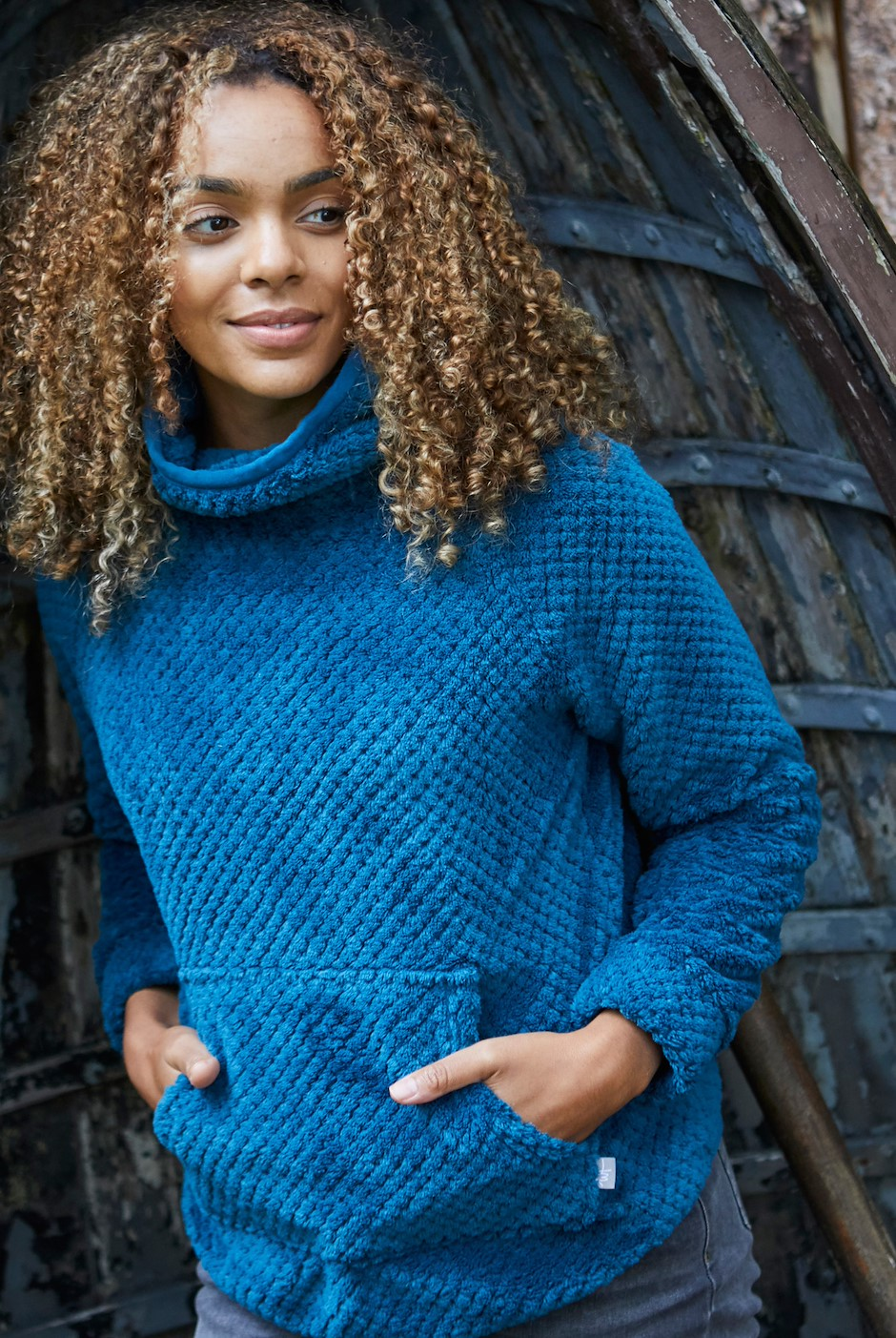 Stella Honeycomb Plush Fur Fleece Deep Sea Blue
