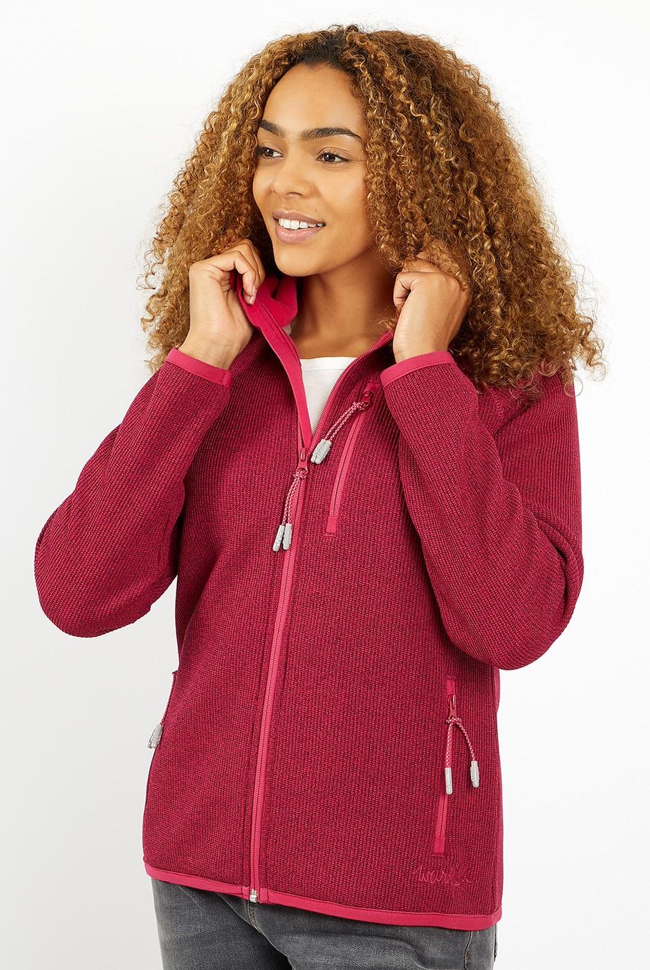 Becca Full Zip Textured Rib Hoodie Dark Pink