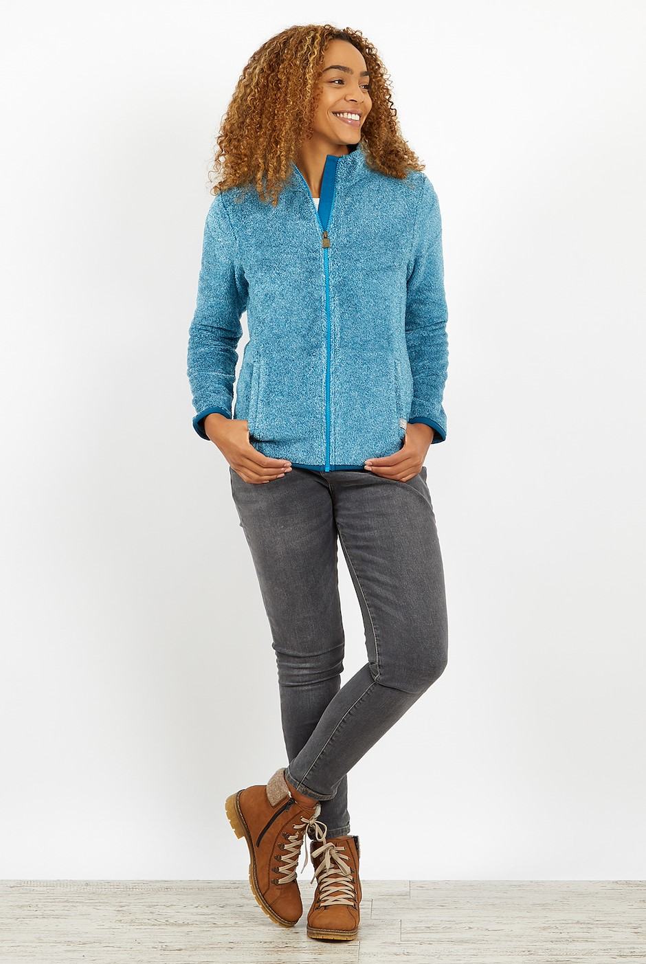 Hulla Full Zip Fluffy Fleece Storm Blue