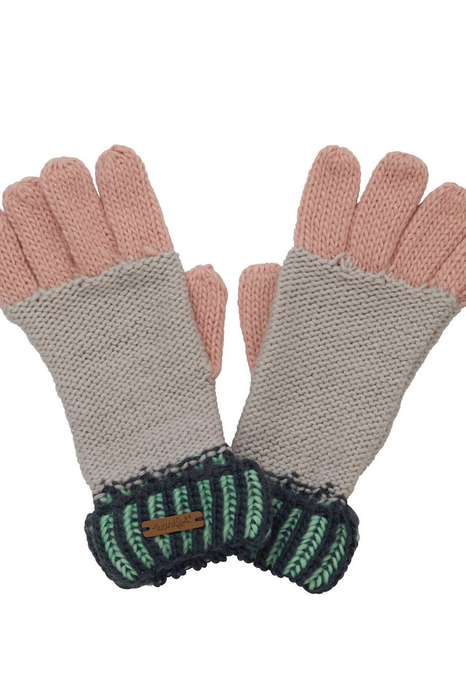Marta Striped Knit Gloves Pearl Grey
