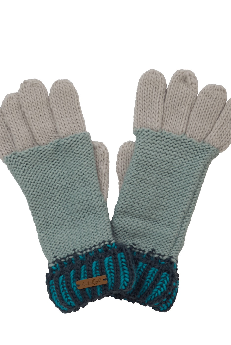Marta Striped Knit Gloves Navy
