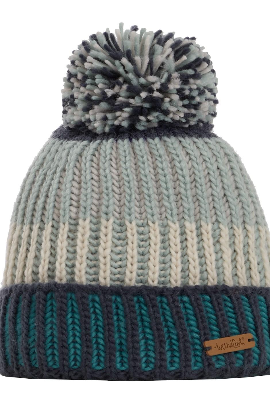 Nemi Striped Rib Knit Bobble Hat Navy