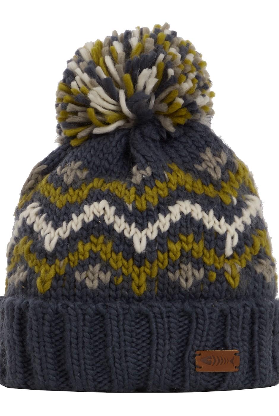Toba Fair Isle Knit Bobble Hat Navy