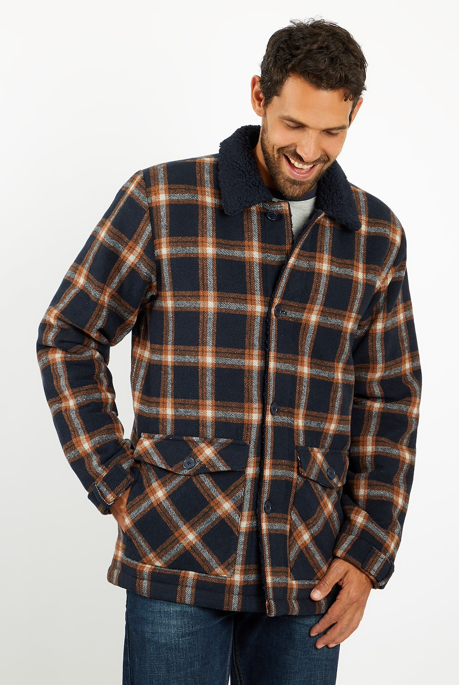 Breckan Check Flannel Coat Navy