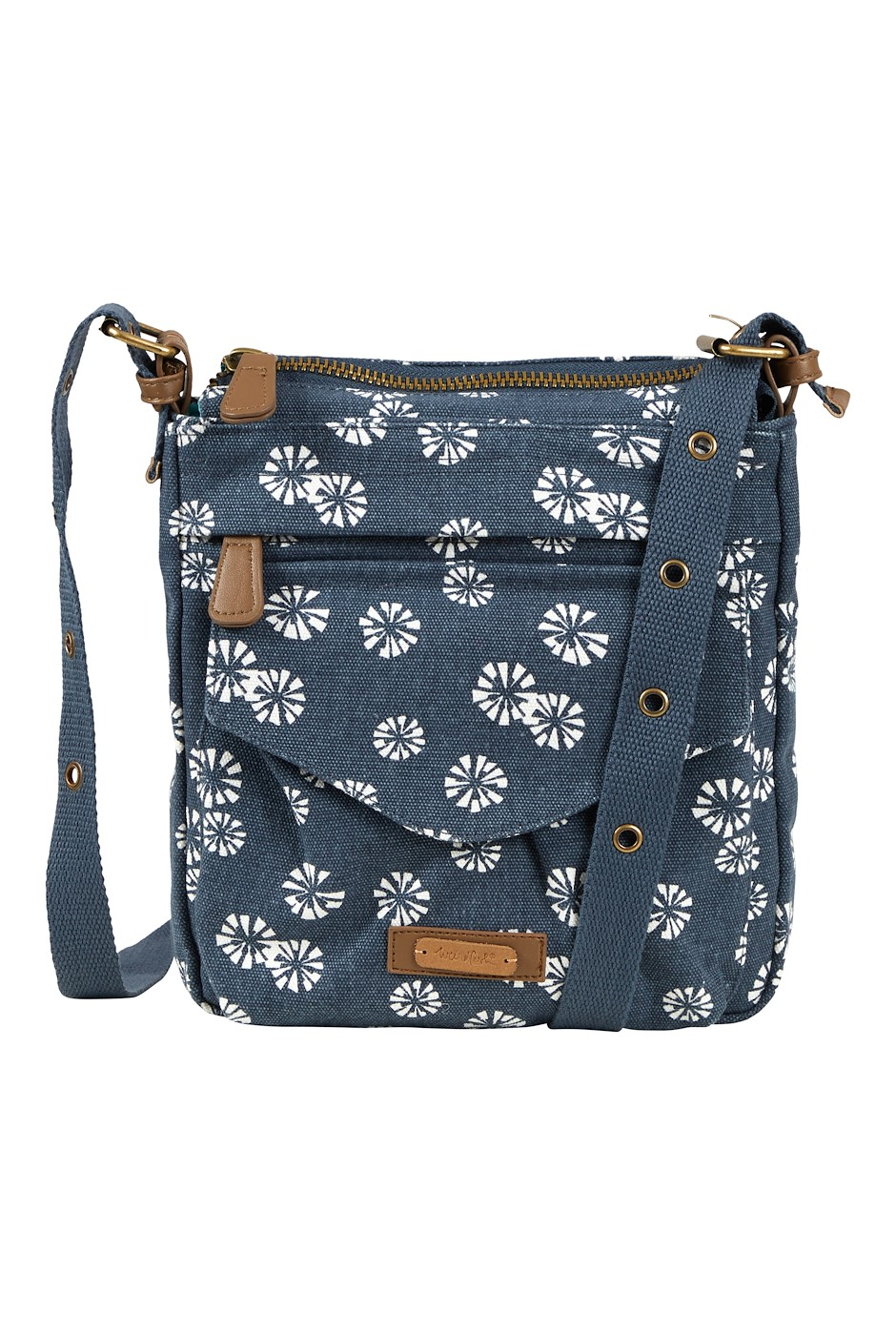 Dibley Printed Canvas Cross Body Bag Navy