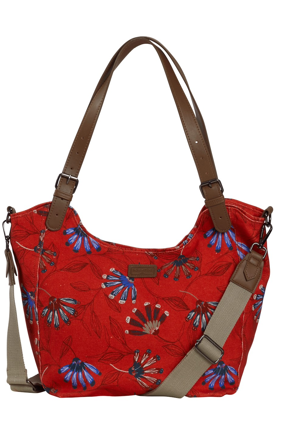 Hollington Printed Canvas Shoulder Bag Burnt Orange