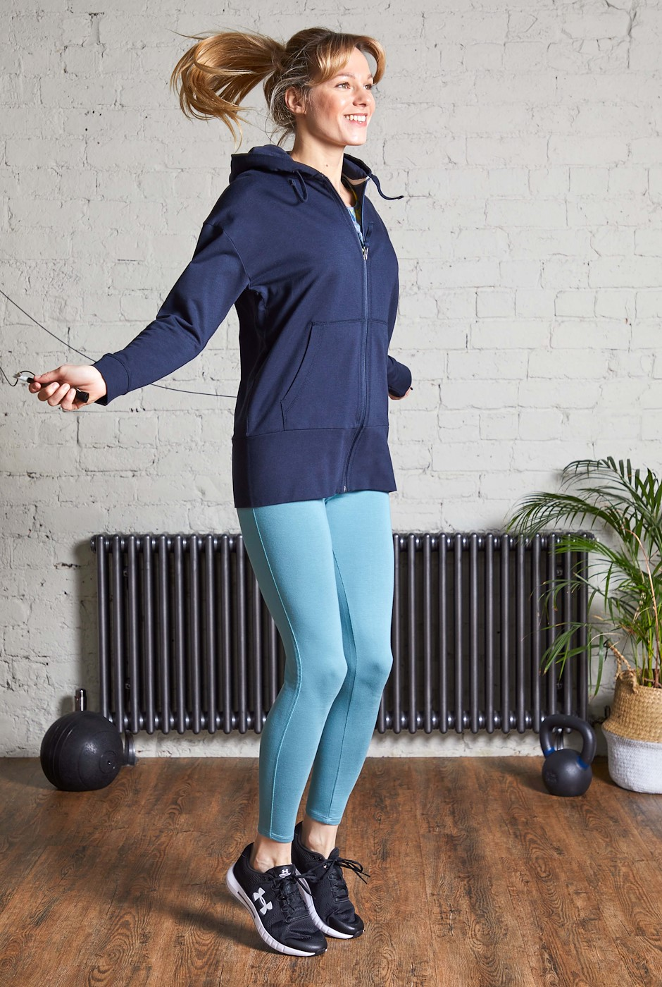 Aphrodite Bamboo Long Line Hoodie Navy