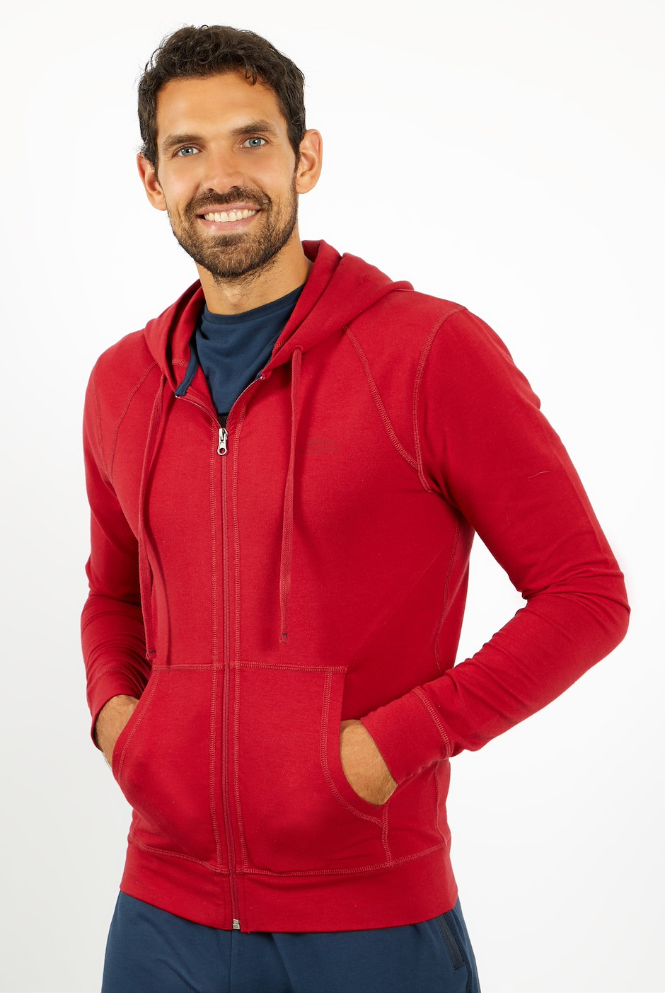 Pan Bamboo Full Zip Hoodie Rich Red