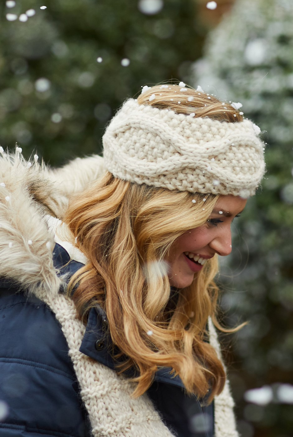 Ellor Chunky Cable Knit Headband Chalk