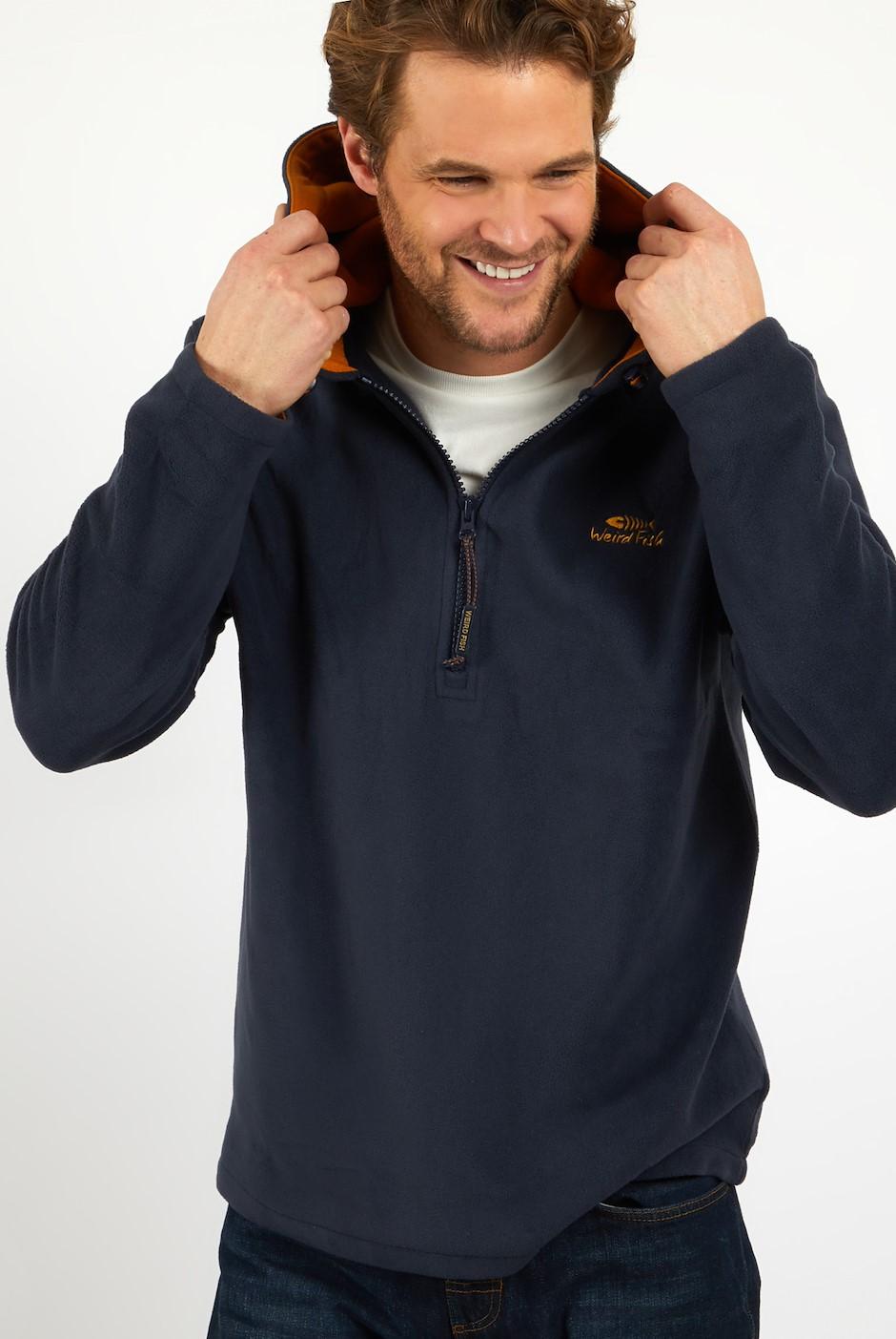 Gervase 1/4 Zip Micro Fleece Hoodie Navy