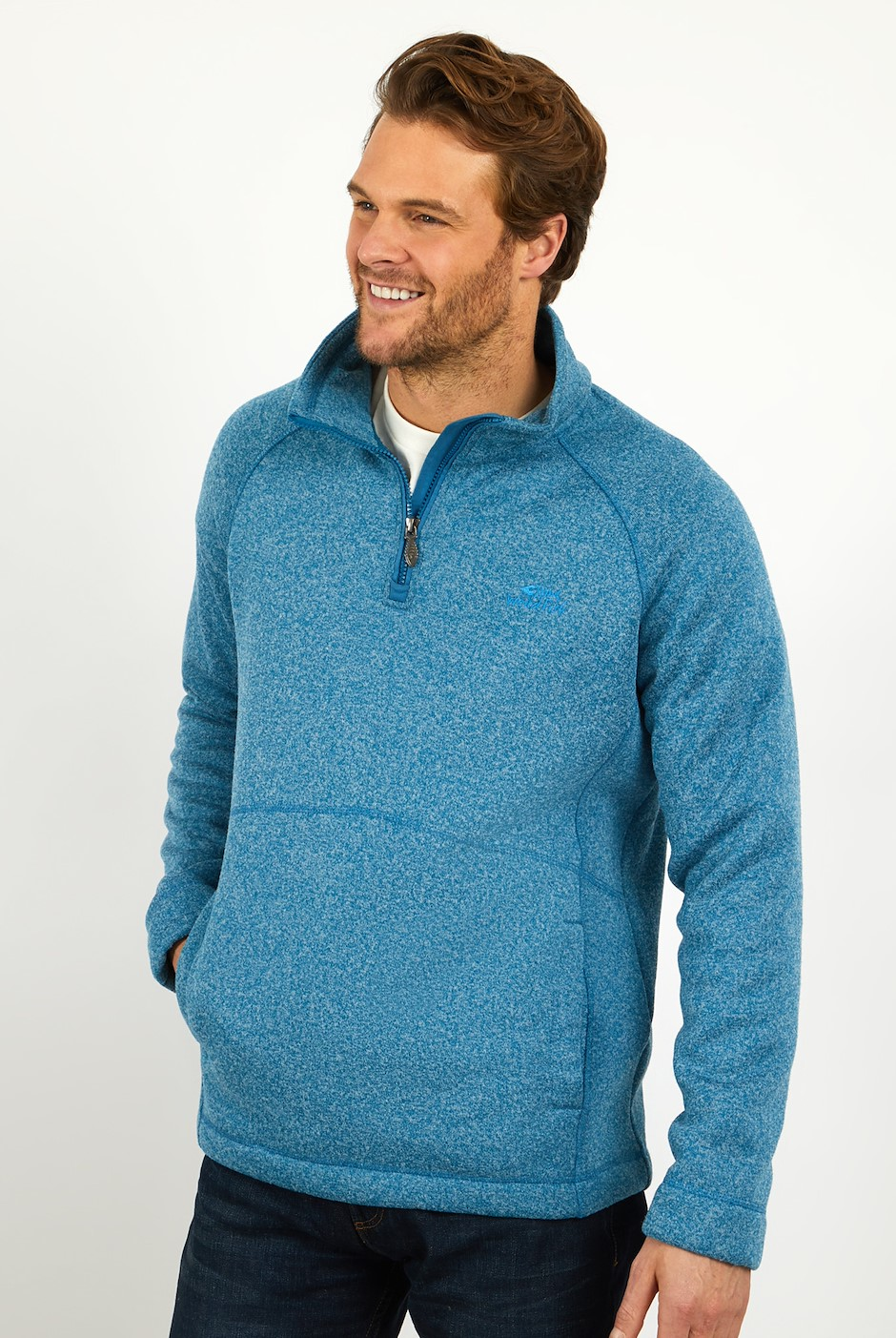 Mercada 1/4 Zip Bonded Soft Knit Storm Blue