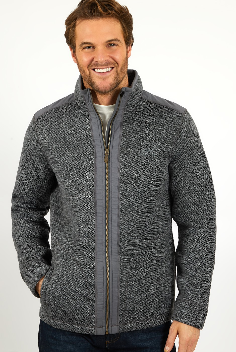 Alden Full Zip Bonded Fleece Cement