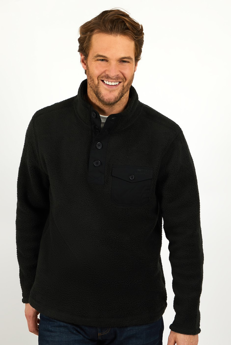 Brendon Button Neck Borg Fleece Washed Black