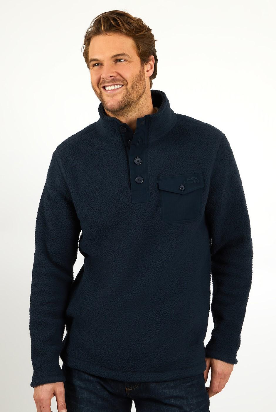 Brendon Button Neck Borg Fleece Navy