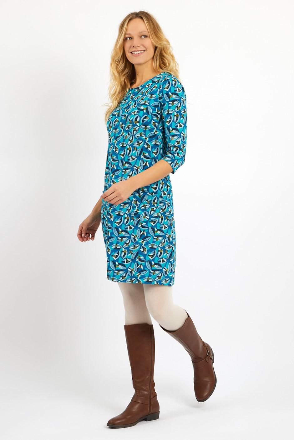 Starshine Printed  Jersey Dress Storm Blue